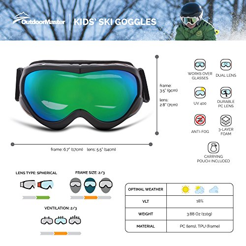 51T6y0uOf2L - OutdoorMaster Kids Ski Goggles - Helmet Compatible Snow Goggles for Boys & Girls with 100% UV Protection