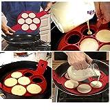 Kemilove Nonstick Silicone Pancake Ring, Fried Egg Mold Egg Ring Egg Shaper