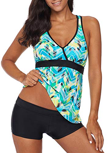HOTAPEI Womens Tankini Swimsuits Green Printed Strappy Swimsuit 2019 Bathing Suits for Women Tankini Two Piece with Boy Shorts Racerback Sports US 8 10