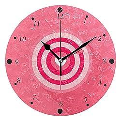 BlueViper Flat Arrow Target Pattern Home Décor Decorative Round Acrylic Wall Clock Art Decoration Modern Elegant Creative
