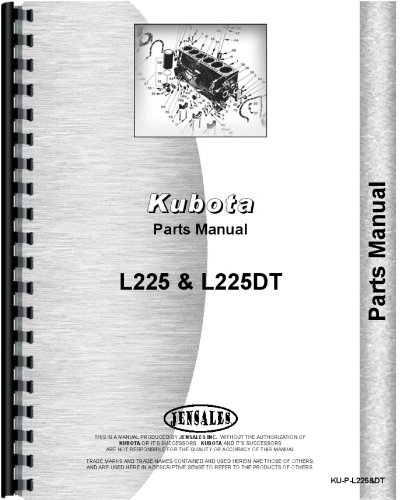 Kubota L225 Tractor Parts Manual (Tractor Dt Catalog Parts)