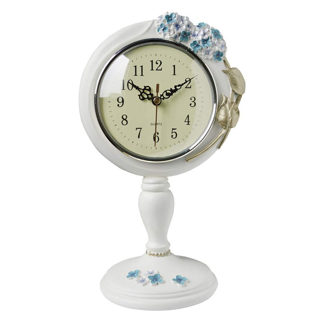 デスククロックファミリークロックヨーロッパ時計、クリエイティブファッションかわいいリビングルームの装飾ミュートHydrang樹脂クロック、リビングルーム/ベッドルームに適しリビングルームの寝室に適し B07THHCZDN #-001