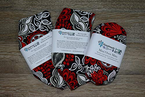 Gift Set // 1 Set of Mini Oven Mitts and 2 Medium Microwave Bowl Cozies // Rockin Red Floral