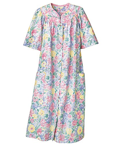 (National Trapunto Yoke House Coat, Multi Floral, 1X)