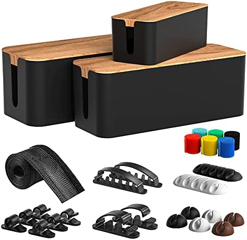 Cable Management Box 3 Pack with 16 Cable Clips&Sleeve Set-Large&Medium&Small Wooden Style Cable Organizer Box to Hide Wires&Power Strips | Cord Organizer Box | Cable Organizer for Home&Office [Black]