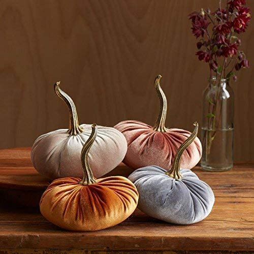 (Velvet Pumpkins, SET of 4: Copper, Gray, Taupe, Bronze; Home Decor, Holiday Mantle Decor, Centerpiece, Fall, Halloween, Thanksgiving)
