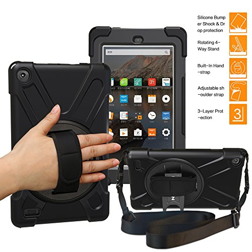 BRAECNstock Amazon Fire 7 Tablet Case with Hand Strap/Shoulder Strap(7th Generation, 2017 Release Only) - [Heavy Duty] Shockproof Full Body Rugged Cover with Built-in Kickstand Protector for Fire HD (Master Series Replacement)