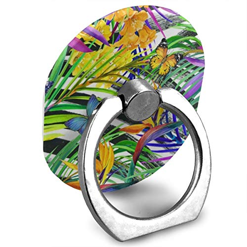 (Zeajant Unique Mobile Phone Holder Finger Ring Stand Colorful Tropical Flowers Floral Butterfly Cell Phone Ring Holder Grip Universal Smartphone for iPhone 7 7 Plus)