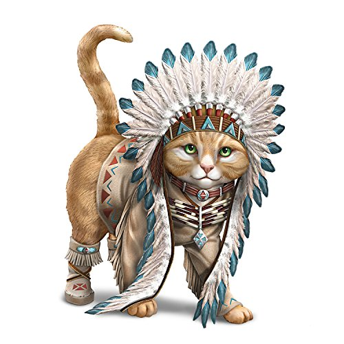 (Chief Runs With Paws Cat Figurine with Tribal Style Outfit by The Hamilton Collection)