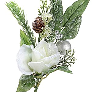 Factory Direct Craft Group of 4 Artificial Glittered Christmas Rose, Pinecone and Holiday Flower Stems 83