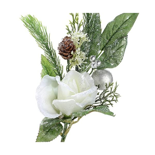 Factory Direct Craft Group of 4 Artificial Glittered Christmas Rose, Pinecone and Holiday Flower Stems