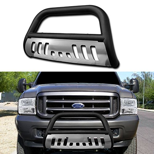 VXMOTOR Matte Black Front Bumper Bull Bar Guard w/Brushed Chrome Skid Plate for 1999-2007 Ford F250 / F350 / F450 / F550 Superduty Models (Won't Fit Harley Davidson Edition); 2000-05 Ford Excursion