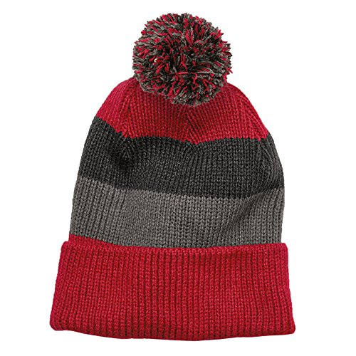 (Vintage Striped Acrylic Winter Beanie Hat with Removable Pom - RED)
