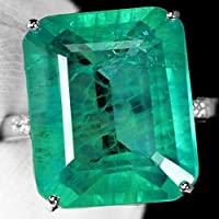 Nongkhai shop Large 925 Silver Emerald Gemstone Ring Wedding Anniversary Party Women Jewelry (6)