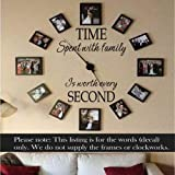 Picture Frame Wall Decal Time Spent With Family Is Worth Every Second Family Wall Decal(Brown,m)