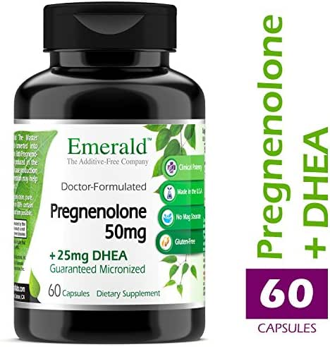 Pregnenolone 50mg w/ 25mg DHEA - Female Hormone Support, Stress Relief, Reduce Symptoms of PMS & Menopause, Increased Energy, Better Mood - Emerald Laboratories (Ultra Botanicals) - 60 Capsules