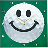 3dRose dpp_76670_1 Smiley Face Golf Ball Happy White Golf Ball Golfer Gift Smile on Dark Green Background Wall Clock, 10 by 10-Inch