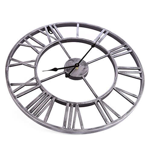 Large Metal Decorative Round Wall Clock Linpote 20 Inch 3D Hollow Out Wrought Iron Non-Ticking Silent Wall Clock with Roman Numeral for Office Living Room Bedroom Kitchen (Silver)