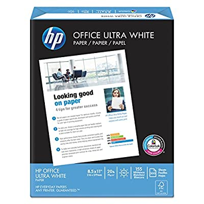HP Office 20lb, 92 Bright, 8 1/2 x 11, Ultra-White (Pack 10)