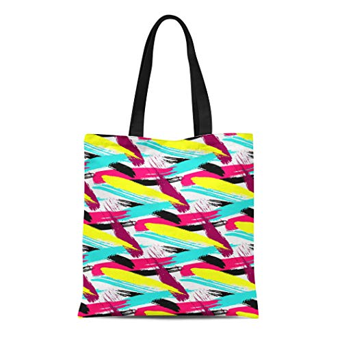 Semtomn Canvas Tote Bag Shoulder Bags Argyle Drawn Brushstrokes Bold Pattern Freehand Hand Abstract Block Women's Handle Shoulder Tote Shopper Handbag