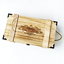 Awerise Personalized Wooden Double Wine Box Wine Carrier for Wedding Ceremony, Birthday gift