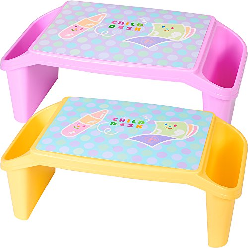 Kids Bed Side Tray (NNEWVANTE Lap Desk for kids with Storage Portable Children's Table for Homework or Reading Breakfast Bed Tray Child Art Plastic Stackable Table, Pack of 2 : Yellow and Pink)