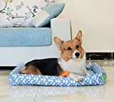"""Pecute Dog Bed Waterproof Detachable Pet Mat Washable Printed for Dogs and Cats Oxford (28.3x22.4x3.9"""", Blue)"""