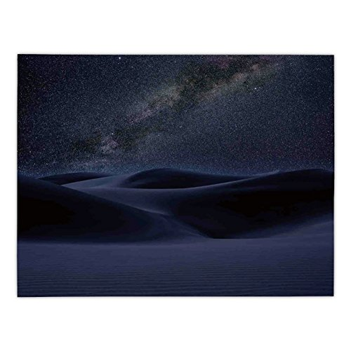 Rectangular Satin Tablecloth,Space,Desert Sand Dunes in Milky Way Stars at Dark Solar Celestial Reflection over Earth Picture,Blue,Dining Room Kitchen Table Cloth Cover