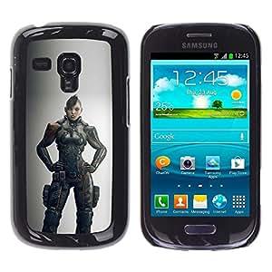 Be Good Phone Accessory // Dura Cáscara cubierta Protectora Caso Carcasa Funda de Protección para Samsung Galaxy S3 MINI NOT REGULAR! I8190 I8190N // Warrior Woman Grey Hero Game