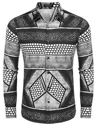 COOFANDY Men's Luxury Dress Shirt Long Sleeve Fashion Graphic Printed Shirts Casual Button Down Shirt Grey