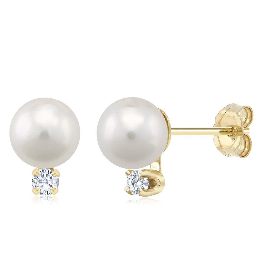 5pts Diamond Accent Cultured Akoya Pearl Stud Earrings Set In 14K Yellow Gold