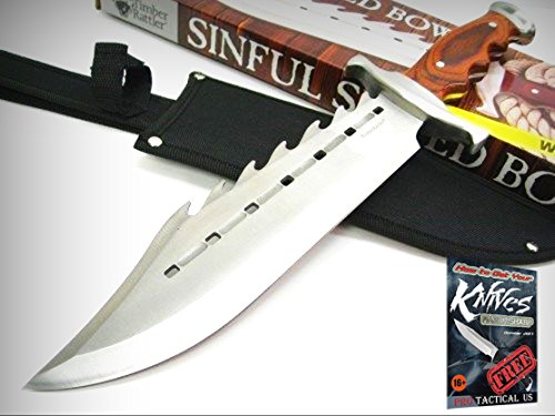 TIMBER RATTLER Hardwood Fixed SINFUL SPIKED Sawback Combat BOWIE Knife + Sheath! + free eBook by ProTactical'US