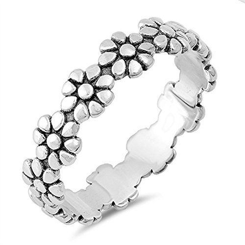(Eternity Plumeria Flower Beautiful Ring New .925 Sterling Silver Band Size 10)
