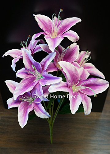 Sweet Home Deco 22'' Silk Stargazer Lily Artificial Flower Bouquet (7 Flower Heads) Home/ Wedding Decoration (Purple/Pink)