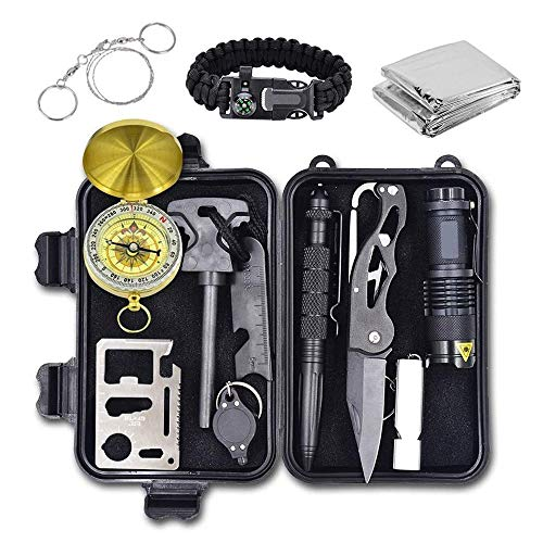 Emergency Survival Kit, 12 in 1 Outdoor Survival Gear Lifesaving Tools Contains Compass, Fire Starter, Flashlights for…
