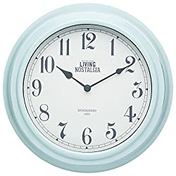 Kitchencraft Living Nostalgia Analogue Wall Clock, Vintage Blue, 25.5cm (10