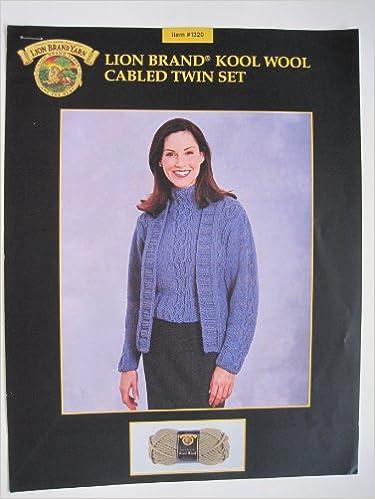 Lion Brand Knitting Pattern Cabled Twin Set 1320 Lion Brand Yarn