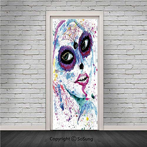 Girls Door Wall Mural Wallpaper Stickers,Grunge Halloween Lady with Sugar Skull Make Up Creepy Dead Face Gothic Woman Artsy,Vinyl Removable 3D Decals 30.4x78.7/2 Pieces set,for Home Decor Blue Purple ()