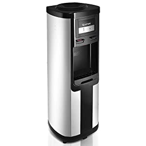 Costway Water Cooler Dispenser 5 Gallon Top Loading Water Dispenser Stainless Steel Freestanding Water Cooler W/Hot and Cold Water (Black and Silver)