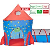 HAN-MM 2pc Rocket Ship Astronaut Kids Play Tent, Tunnel with Bonus Message Signs for Indoor Outdoor Camping Children Activity Center