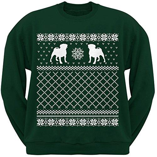 Pug Ugly Christmas Sweater Green Crew Neck Sweatshirt