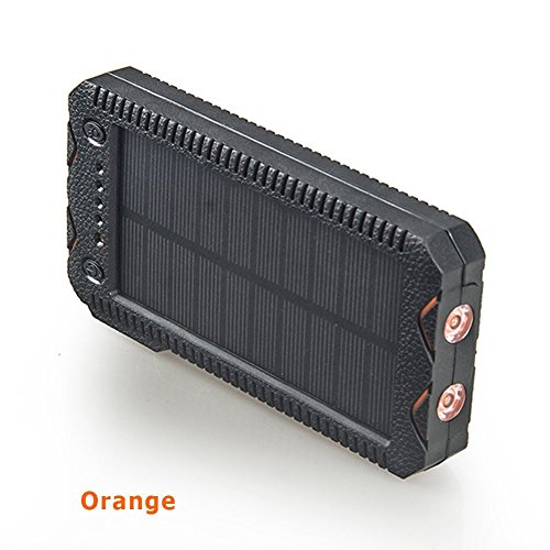 15000mAh Solar Charger with Cigarette Lighter Function Outdoor Camping Waterproof Power Bank Protable External Battery Dual LED Flashlight for iPhone iPad Cell Phones (Orange)