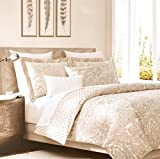 Tahari Home Beige Metallic Silver or Gold Accents Vintage French Damask Paisley Medallions 3pc Duvet Cover Set Antique Bothe Style Bohemian Dusty Blue (Queen, Copper)