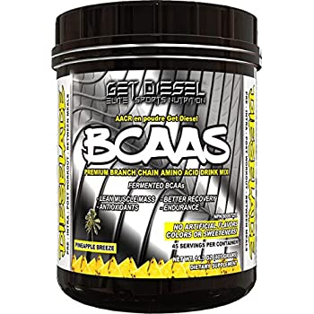 GET DIESEL Dieselade All Natural Vegan Friendly BCAAs For Men and Women - 45 Servings  14.3 OZ (Pineapple Breeze)