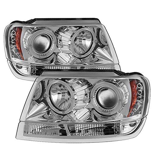 Spyder Auto (PRO-YD-JGC99-HL-C) Jeep Grand Cherokee Chrome Halogen LED Projector Headlight