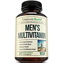 Men's Daily Multimineral/Multivitamin Supplement - Vitamins A C E D B1 B2 B3 B5 B6 B12. Magnesium, Biotin, Spirulina, Zinc. Antioxidant For Heart & Immune Health. 60 Daily Gluten Free Multivitamins.