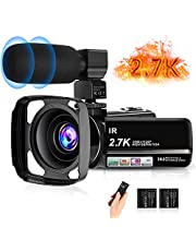 """toberto 2.7K Video Camera HD Vlogging Camera Camcorder for YouTube 3.0"""" IPS Touch Screen IR Night Vision 16X Digital Zoom Recorder with Microphone,Len Hood,2 Batteries"""