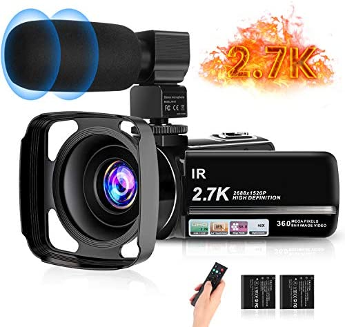 "Video Camera, toberto Vlogging Camera 2.7K 30FPS Camcorder Full HD Camera 36MP 1080P Digital Recorder 3.0"" IPS Touch Screen IR Night Shot Camcorders with Remote, Microphone, Lens Hood and a couple of Batteries"