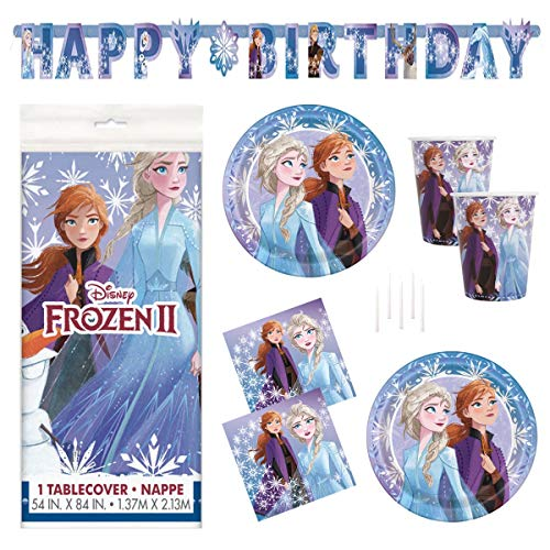 Party De Frozen (Frozen 2 Party Supplies Set - Serves 16 - Includes Banner Decoration, Tablecover, Large Plates, Napkins, Cups and)