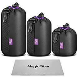 (3 Pack) Altura Photo Thick Protective Neoprene Pouch Set For Dslr Camera Lens (Canon, Nikon, Pentax, Sony, Olympus, Panasonic) - Includes: Small, Medium & Large Pouches